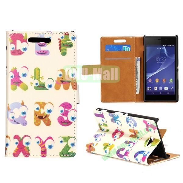 Lovely Design Wallet Style Flip Stand leather Case For Sony Xperia M2 S50H With Card Slots (Cartoon English Letters)