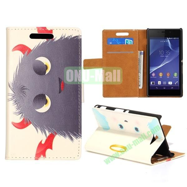 Lovely Design Wallet Style Flip Stand leather Case For Sony Xperia M2 S50H With Card Slots (Cool Grey Cartoon)