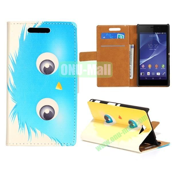 Lovely Design Wallet Style Flip Stand leather Case For Sony Xperia M2 S50H With Card Slots (Cool Blue Cartoon)