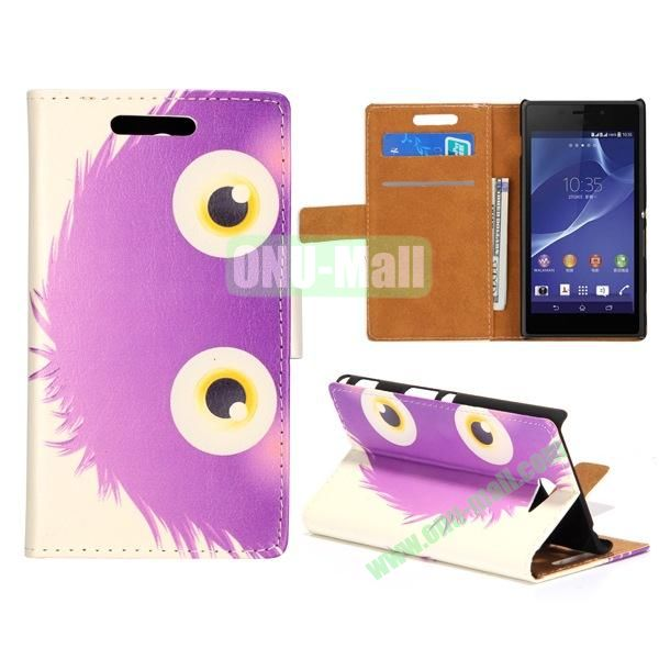 Lovely Design Wallet Style Flip Stand leather Case For Sony Xperia M2 S50H With Card Slots (Cool Purple Cartoon)