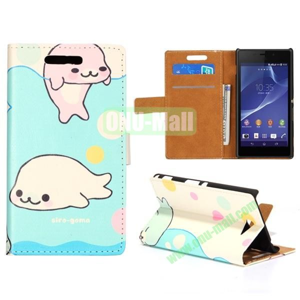 Cute Design Pattern Wallet Style Flip Leather Case for Sony Xperia M2 S50h (Cute Dolphins)