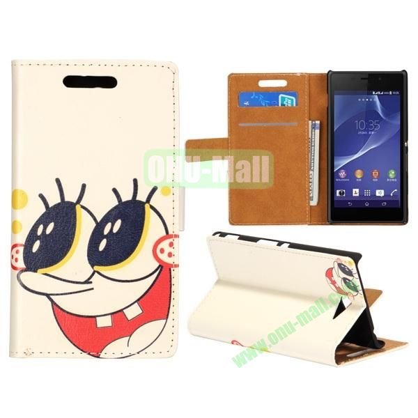 Cute Design Pattern Wallet Style Flip Leather Case for Sony Xperia M2 S50h (Cartoon Snail)