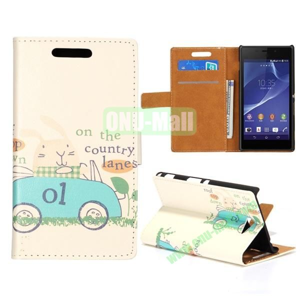Cute Design Pattern Wallet Style Flip Leather Case for Sony Xperia M2 S50h (Blue Cartoon Car)