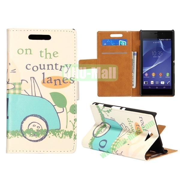 Cute Design Pattern Wallet Style Flip Leather Case for Sony Xperia M2 S50h (Cute Cartoon Car)
