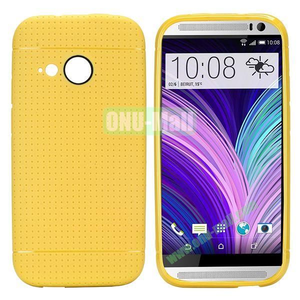 Simple Solid Color Soft TPU Case For HTC One M8 mini (Yellow)