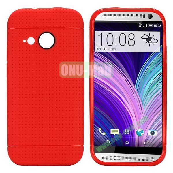 Simple Solid Color Soft TPU Case For HTC One M8 mini (Red)