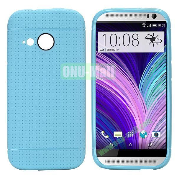 Simple Solid Color Soft TPU Case For HTC One M8 mini (Light Blue)