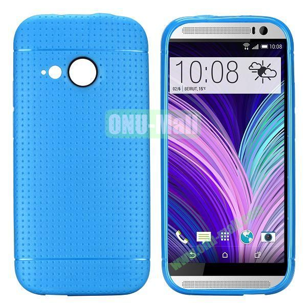 Simple Solid Color Soft TPU Case For HTC One M8 mini (Blue)