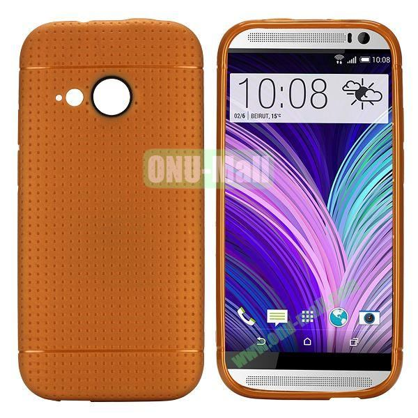 Simple Solid Color Soft TPU Case For HTC One M8 mini (Brown)