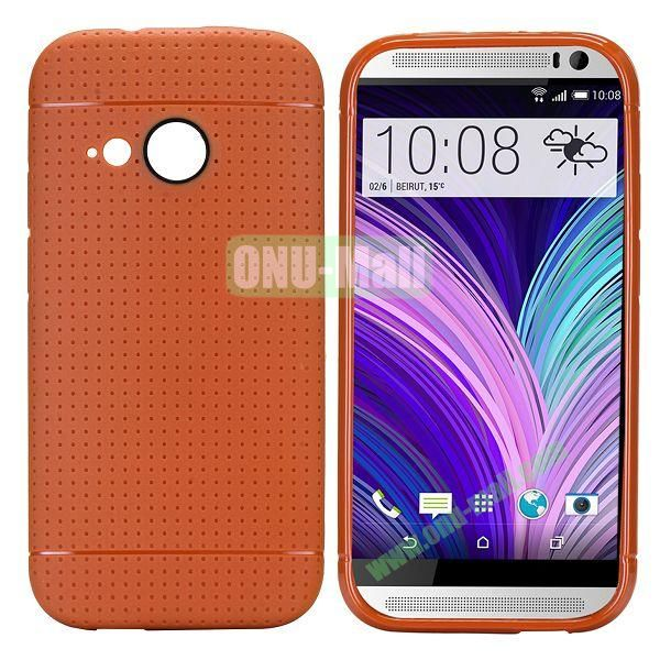 Simple Solid Color Soft TPU Case For HTC One M8 mini (Dark Brown)
