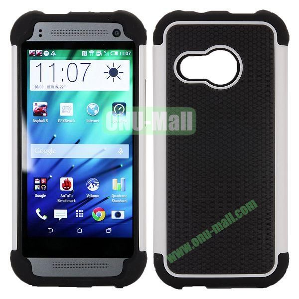 Football Pattern Dual-color Anti Slide Detachable Silicone and PC Hybrid Case for HTC One M8 Mini (Black+White)