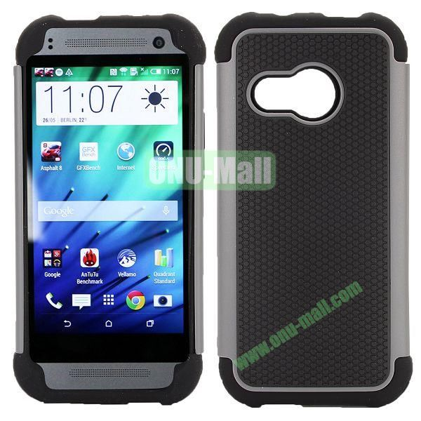 Football Pattern Dual-color Anti Slide Detachable Silicone and PC Hybrid Case for HTC One M8 Mini (Black+Gray)
