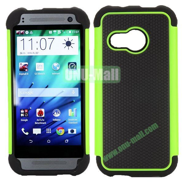 Football Pattern Dual-color Anti Slide Detachable Silicone and PC Hybrid Case for HTC One M8 Mini (Black+Green)