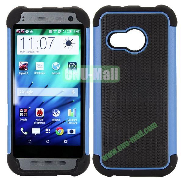 Football Pattern Dual-color Anti Slide Detachable Silicone and PC Hybrid Case for HTC One M8 Mini (Black+Blue)