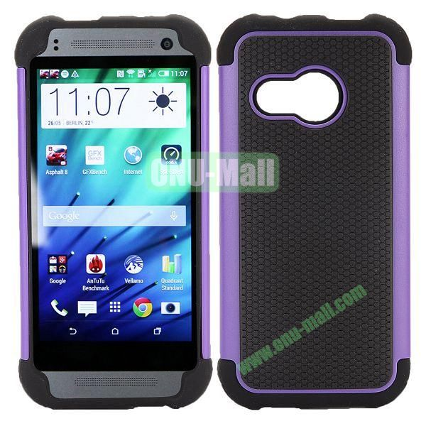 Football Pattern Dual-color Anti Slide Detachable Silicone and PC Hybrid Case for HTC One M8 Mini (Black+Purple)