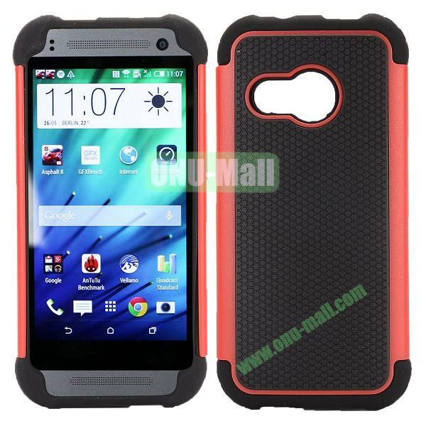 Football Pattern Dual-color Anti Slide Detachable Silicone and PC Hybrid Case for HTC One M8 Mini (Black+Red)