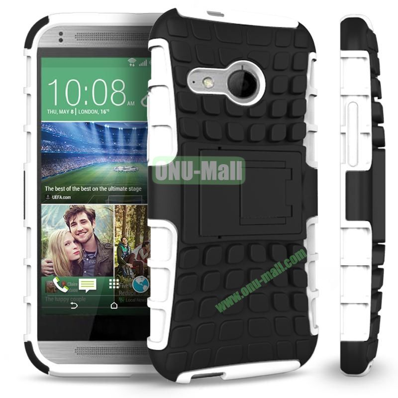 Detachable Antiskid PC and TPU Hybrid Rugged Case For HTC One 2 M8 Mini (White)
