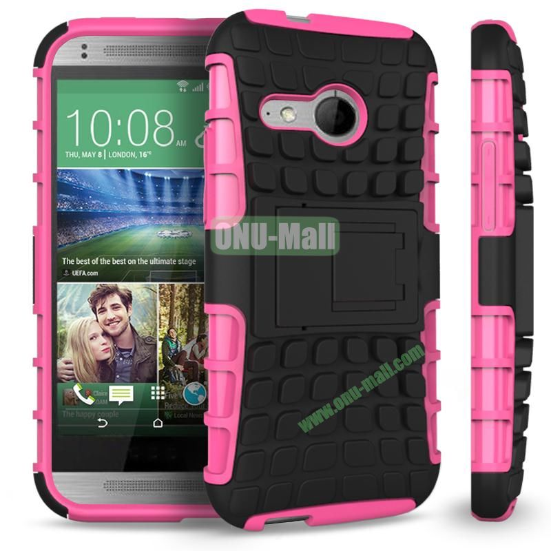 Detachable Antiskid PC and TPU Hybrid Rugged Case For HTC One 2 M8 Mini (Rose)