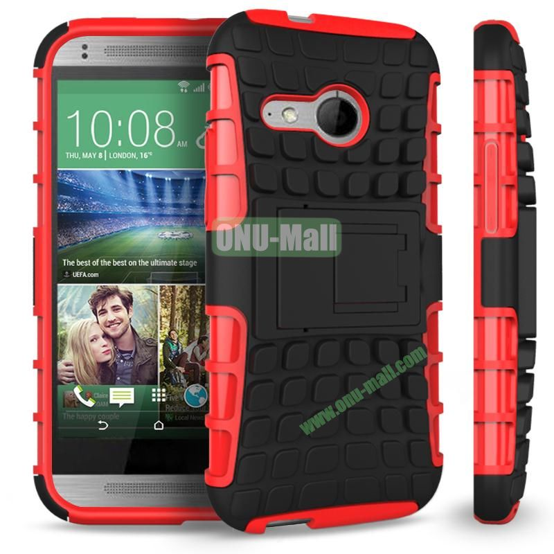 Detachable Antiskid PC and TPU Hybrid Rugged Case For HTC One 2 M8 Mini (Red)