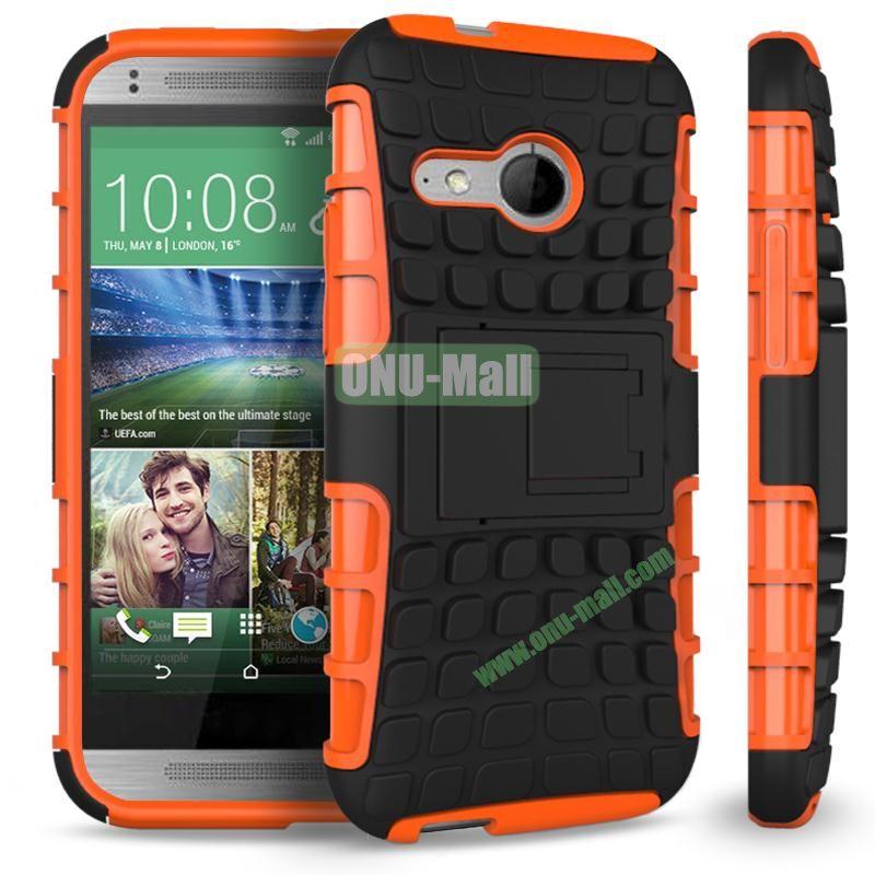 Detachable Antiskid PC and TPU Hybrid Rugged Case For HTC One 2 M8 Mini (Orange)
