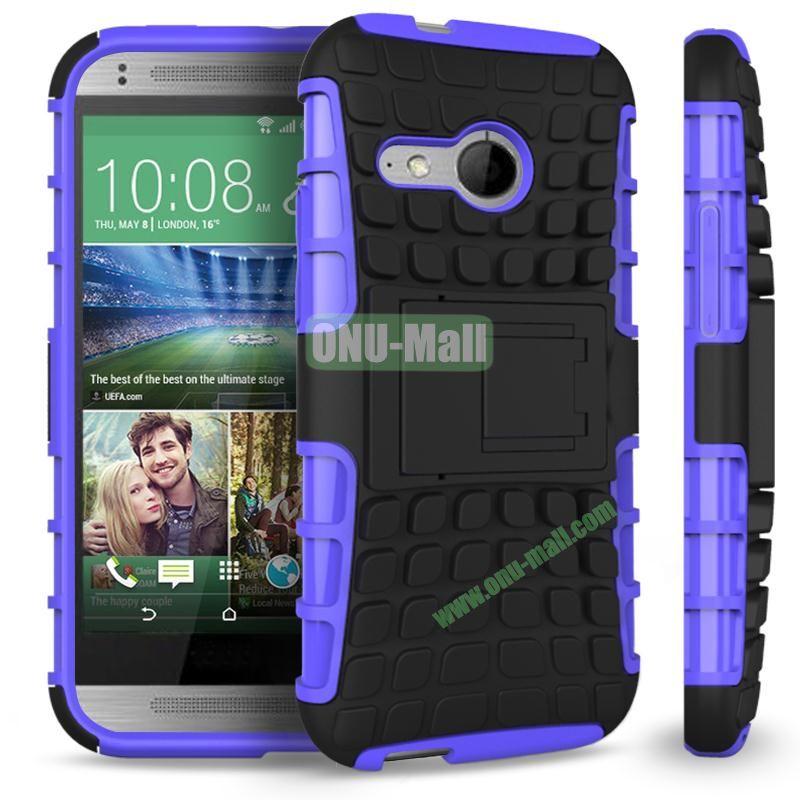 Detachable Antiskid PC and TPU Hybrid Rugged Case For HTC One 2 M8 Mini (Purple)