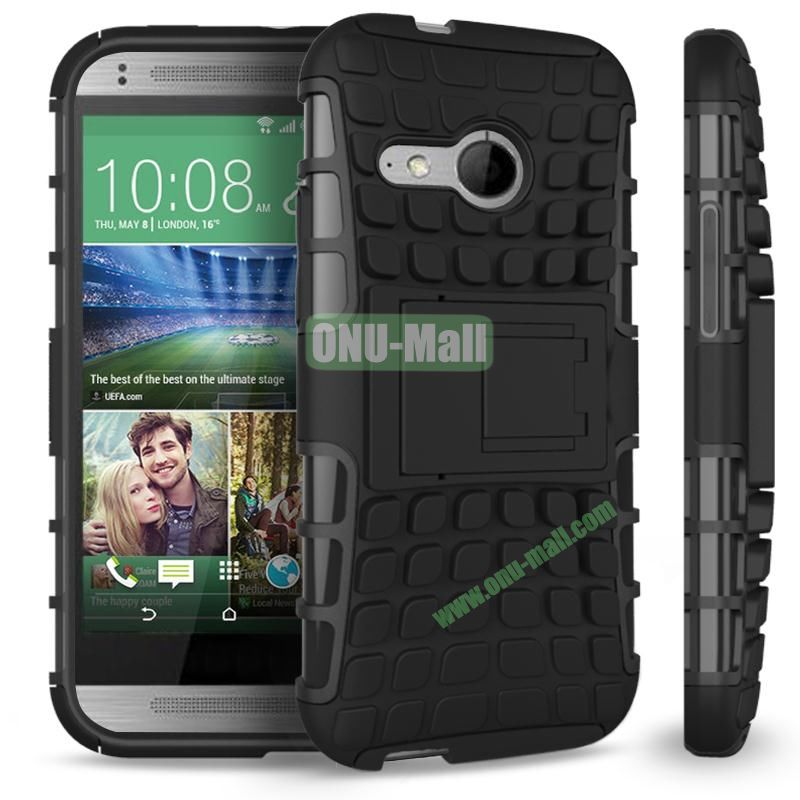 Detachable Antiskid PC and TPU Hybrid Rugged Case For HTC One 2 M8 Mini (Black)