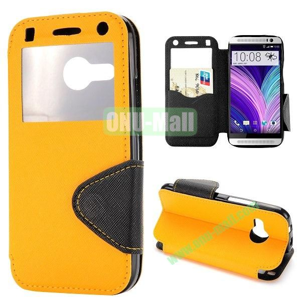 Cross Texture Magnetic Flip Stand Leahter Case for HTC One 2 Mini M8 Mini with Caller ID Window and Card Slots (Yellow)
