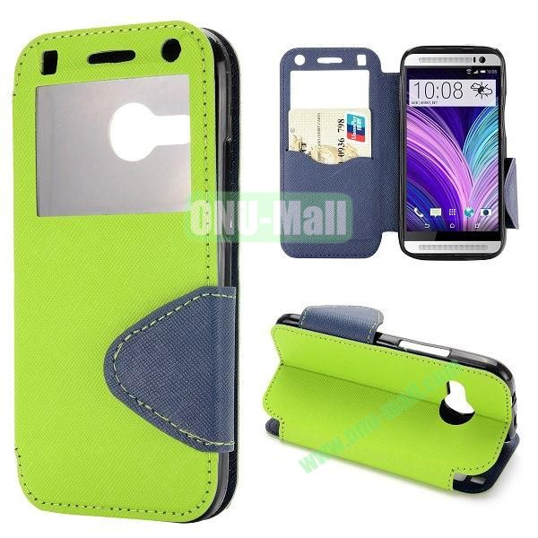 Cross Texture Magnetic Flip Stand Leahter Case for HTC One 2 Mini M8 Mini with Caller ID Window and Card Slots (Green)