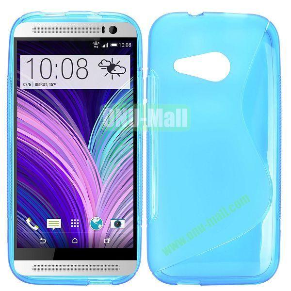 S Shape TPU Case for HTC One M8 Mini One Mini 2 (Light Blue)