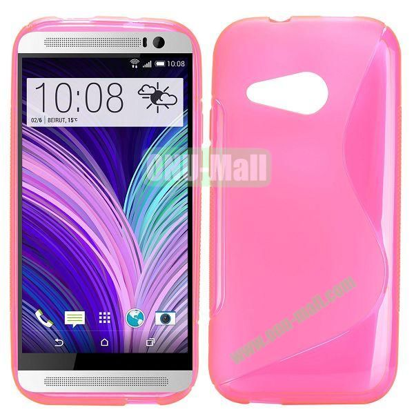 S Shape TPU Case for HTC One M8 Mini One Mini 2 (Pink)