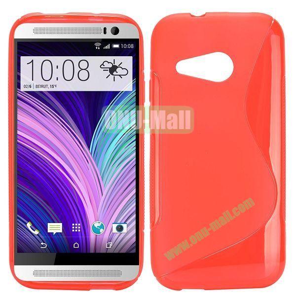 S Shape TPU Case for HTC One M8 Mini One Mini 2 (Red)