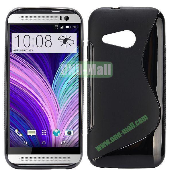 S Shape TPU Case for HTC One M8 Mini One Mini 2 (Black)