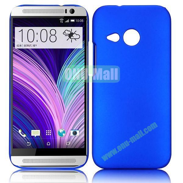 Solid Color Oil Coated Hard Case for HTC One M8 Mini (Blue)