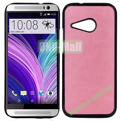 Crazy Horse Texture Electroplated Hard PC Case For HTC One M8 Mini (Pink)