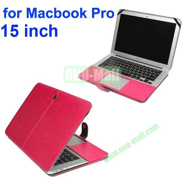 Crazy Horse Texture Flip PU Leather Case for Macbook Pro 15 inch (Rose)