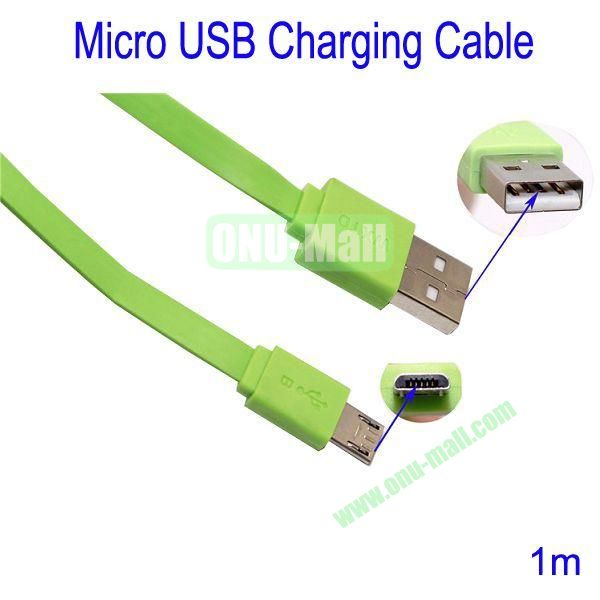 1m Micro USB Charging Cable for Samsung Galaxy S3Galaxy S4HTC M7Blackberry Z10Mobile Phone etc(Green)