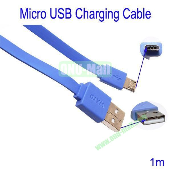 1m Micro USB Charging Cable for Samsung Galaxy S3Galaxy S4HTC M7Blackberry Z10Mobile Phone etc(Blue)