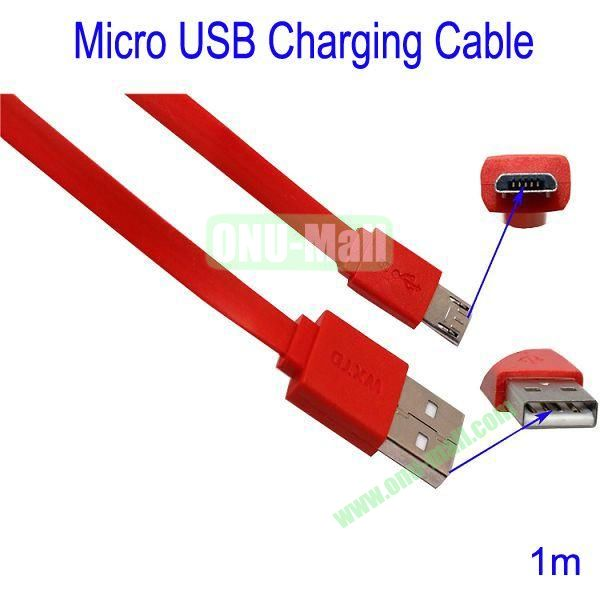 1m Micro USB Charging Cable for Samsung Galaxy S3Galaxy S4HTC M7Blackberry Z10Mobile Phone etc(Red)