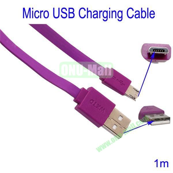 1m Micro USB Charging Cable for Samsung Galaxy S3Galaxy S4HTC M7Blackberry Z10Mobile Phone etc(Purple)
