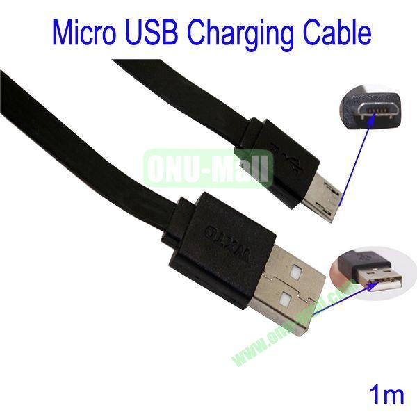 1m Micro USB Charging Cable for Samsung Galaxy S3Galaxy S4HTC M7Blackberry Z10Mobile Phone etc(Black)