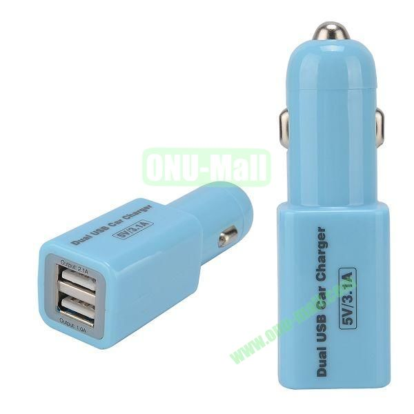 Dual USB 5V3.1A Car Charger for iPhone 6,Samsang GALAXY S5  I9600,HTC One 2  M8,BlackBerry,iPad,Other Mobile Phone (Blue)