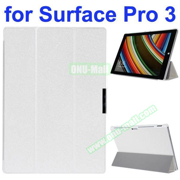 3 Folding Pattern Flip Leather Case for Microsoft Surface Pro 3 with Stand (White)