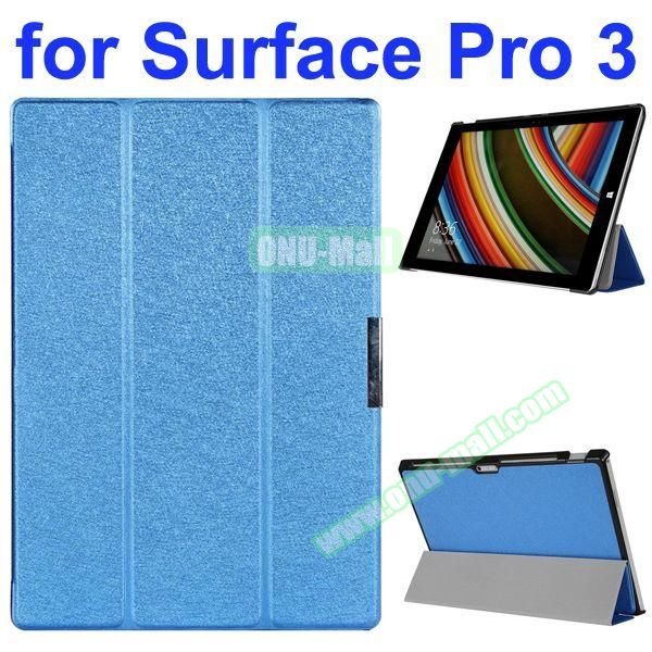 3 Folding Pattern Flip Leather Case for Microsoft Surface Pro 3 with Stand (Blue)