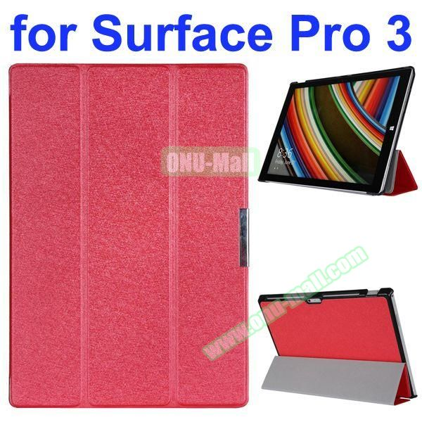 3 Folding Pattern Flip Leather Case for Microsoft Surface Pro 3 with Stand (Red)