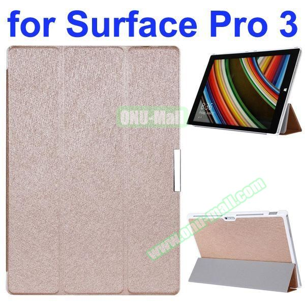 3 Folding Pattern Flip Leather Case for Microsoft Surface Pro 3 with Stand (Beige)