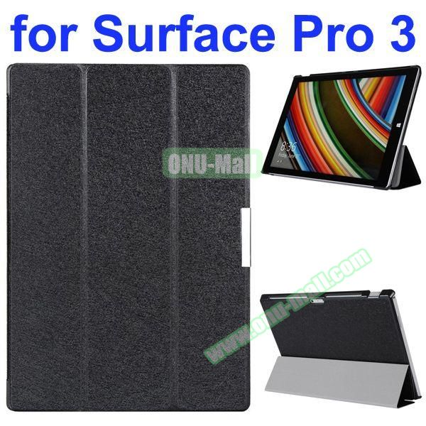 3 Folding Pattern Flip Leather Case for Microsoft Surface Pro 3 with Stand (Black)
