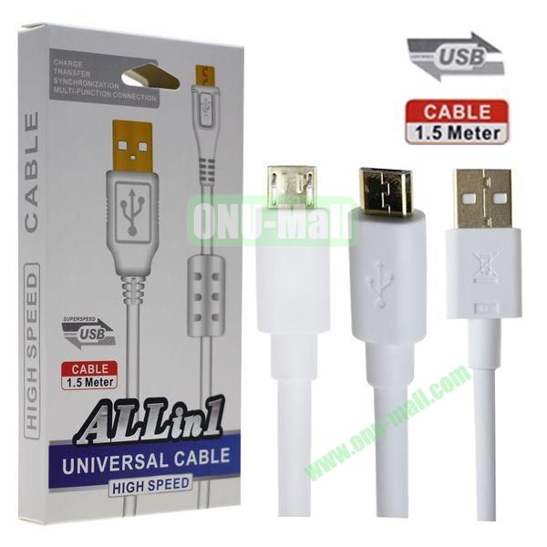 2014 New Style ALL in One High Speed 1.5M Micro USB Universal Cable for Samsung, HTC, Nokia, Lenovo, LG etc