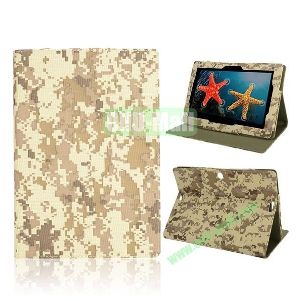 Camouflage Pattern Magnetic Flip Stand Leather Case for ASUS MeMo Pad FHD 10 ME302C (Beige)