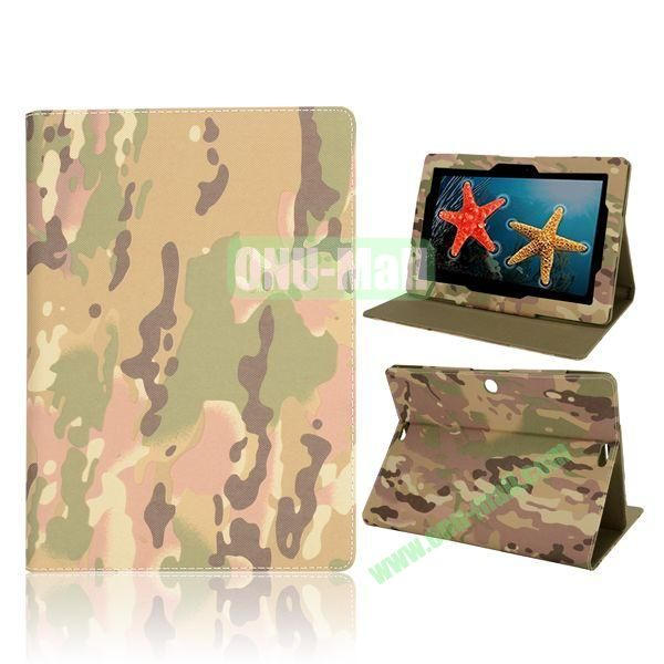 Camouflage Pattern Magnetic Flip Stand Leather Case for ASUS MeMo Pad FHD 10 ME302C (Army Camouflage)