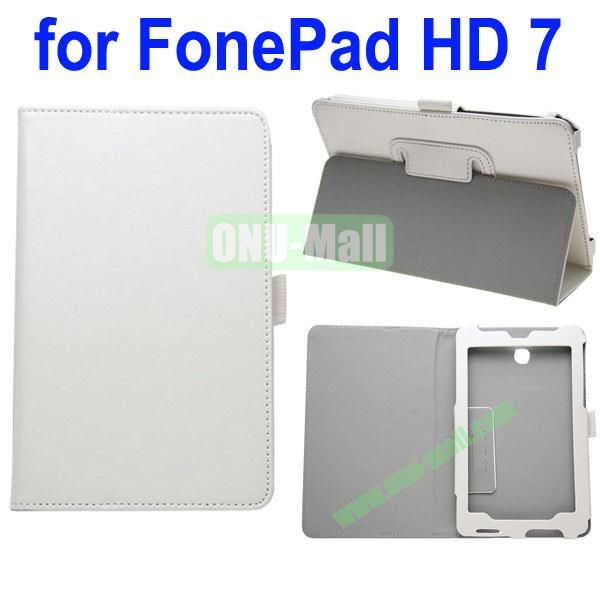 Crazy Horse Texture Leather Case for Asus FonePad HD 7ME372 (White)